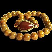 "Stunning Vintage Large Natural Honey Brown Jadeite Jade Bead Necklace 20""  142.3 g"