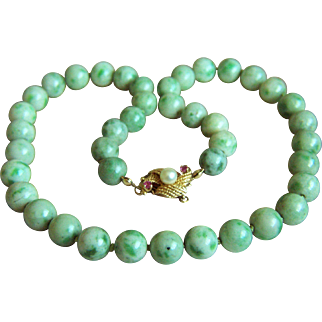 """Extremely Rare Vintage Natural Moss in Snow Jadeite Jade Beads 14K Ruby Pearl Clasp Necklace 18 3/4""""  77g Heavy"""
