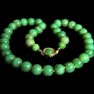 "Exquisite Vintage 14K Natural Jadeite Jade Necklace 18""  66.5 g"