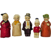 Family of German Bisque Doll House Figurines Hertwig Signed Germany
