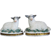 ***ON HOLD*** Tiny Pair Of Recumbent Mantel Sheep / Lambs For Dollhouse