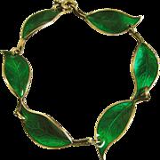 David Andersen Gilt Over Sterling Silver Emerald Green Enamel Leaf Bracelet - Willy Winnaess