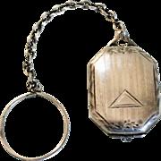 Sterling Silver Art Deco Locket w/ Finger Ring