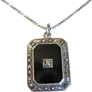 Art Deco Sterling Onyx & Marcasite Necklace W/ Hidden Madonna