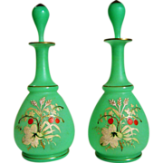 Pair Of  Green Opaline Glass Scent Scent Bottles - Hand Painted Flowers - Lily