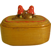 Miniature Wood Box w/ Tiny Carved Mushrooms For Doll House