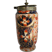 Unusual Vintage Gaudy Welsh Footed Mustard Pot Container With Cover