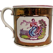 Early Pearlware Copper Lustre Coffee Can / Mug  - Hope - Woman w/ Anchor