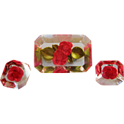 Reverse Carved Lucite Raspberry Pink Rose Brooch / Pin & Earrings