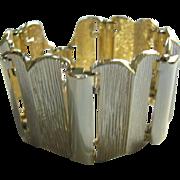 Wide Gold Tone Link Bracelet 1950s