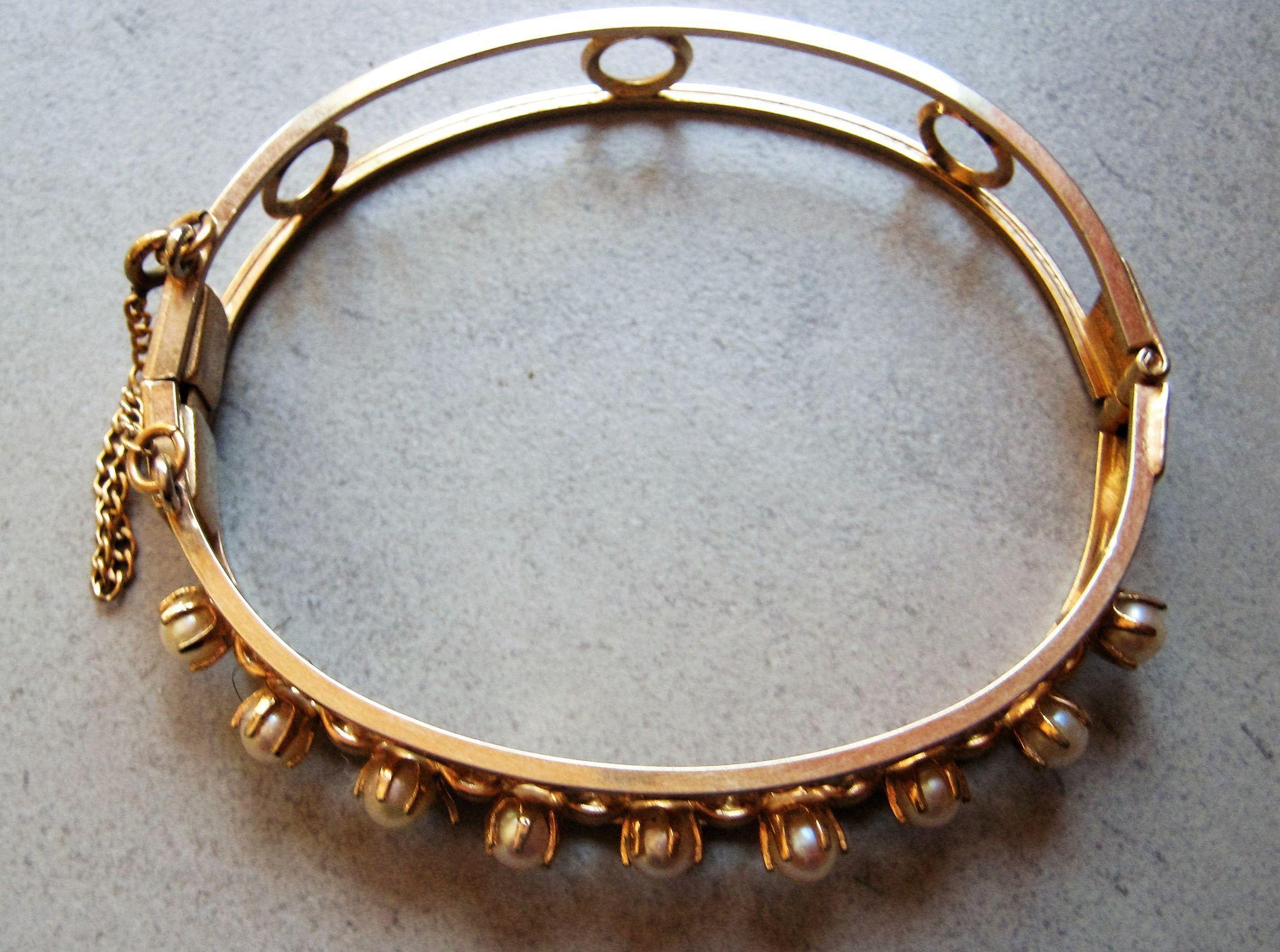 12 kt gold filled cultured pearl bangle bracelet signed karen lynne