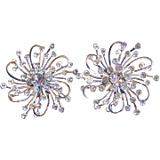 Super Sparkly Swirling Rhinestone Clip Earrings - Sarah Coventry