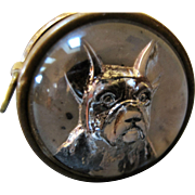 Vintage Reverse Carved Glass Tape Measure - French Bulldog Germany