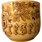 Brown & Gilt Hand Painted Floral Mustache Cup