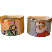 Noritake Art Deco Man & Woman Lustre Napkin Rings