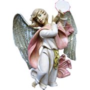 Beautiful Christmas Angel Playing Tambourine - Italy