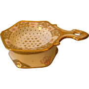 Hand Painted Nippon Tea Strainer - Gold & Pink Roses
