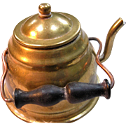 Miniature Brass Tea Kettle For Doll - Made In Holland