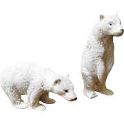 Pair Of Snow Baby Bears Signed Germany