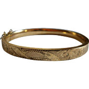 12K Gold Filled Bangle Bracelet Etched Design