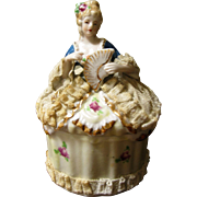 Beautiful Dresden Half Doll Lace Powder / Trinket Box