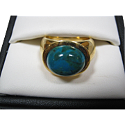 Gold Over Sterling Silver Ring W/ Glass Cabochon Stone