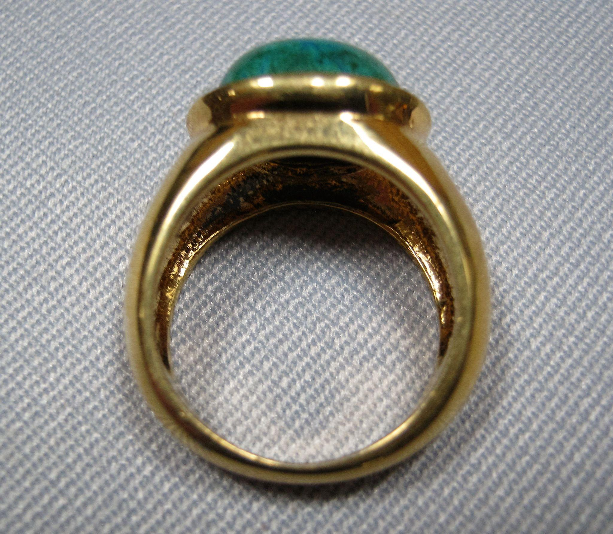 Glass Band Ring Filled With Silver
