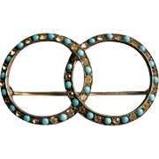 Sterling Silver Faux Turquoise & Rhinestone Double Circle Brooch