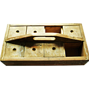 Wonderful Primitive Wood Carrier W/ Sliding Covers