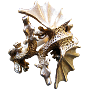Sterling Silver Ring - Double Dueling Dragons