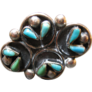 Large Sterling Silver Cluster Turquoise Ring - Size 7 1/2