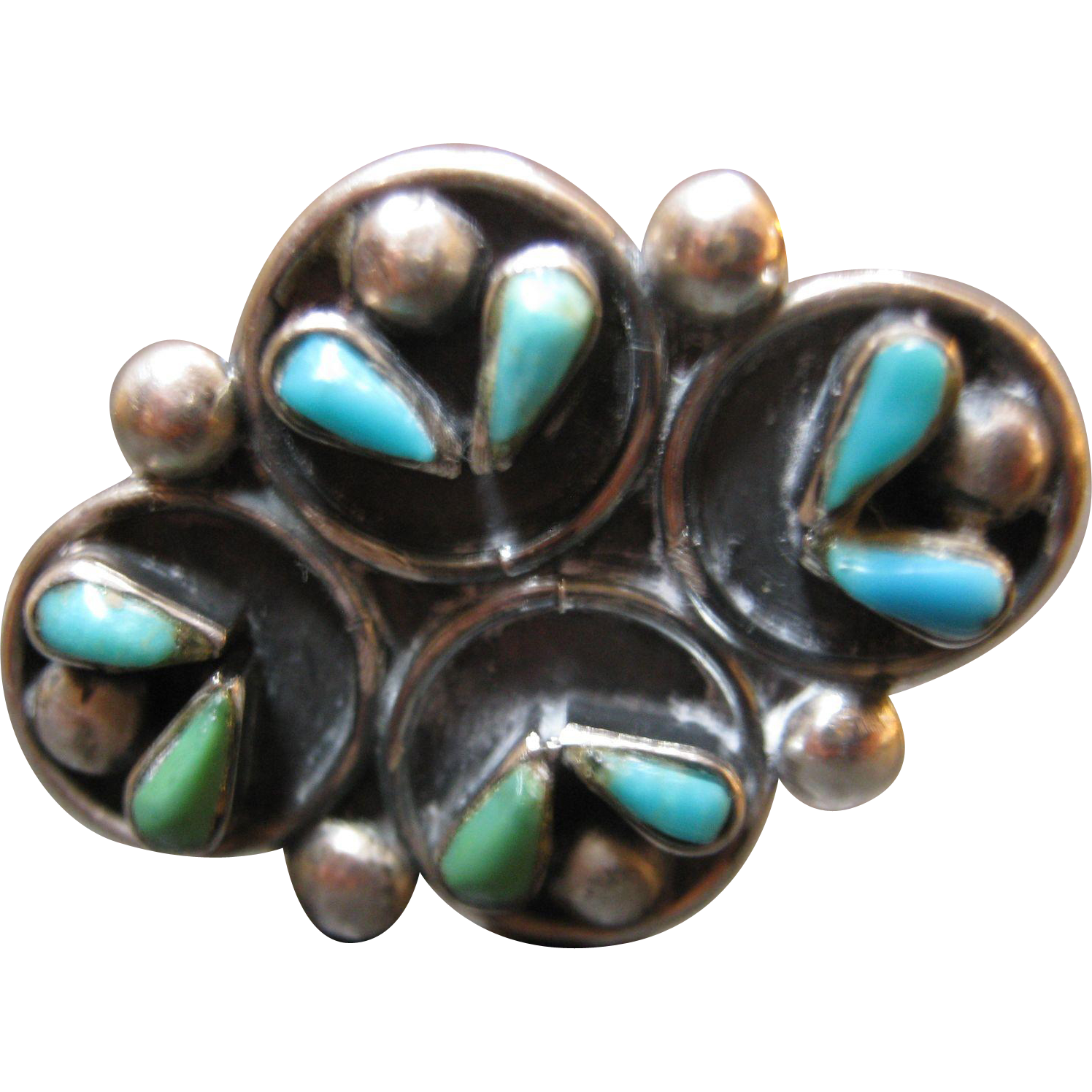 large sterling silver cluster turquoise ring size 7 1 2