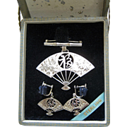 Beautiful Boxed Set - Sterling Silver Fan Brooch & Earrings Japan - Engraved