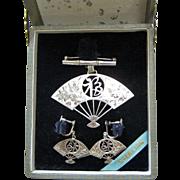 Beautiful Boxed Set - Sterling Silver Fan Brooch & Earrings Japan - Engraved