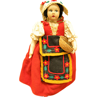 Stockinette Doll In Colorful Ethnic Costume