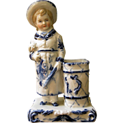 Beautiful Porcelain Blue & White Match Holder - Boy & Puppy