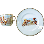 Vintage Child's Cup & Plate - Gnomes & Frog