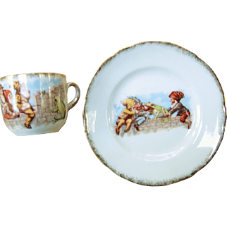 Vintage Child's Cup & Saucer - Gnomes & Frog