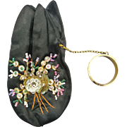 Miniature Satin & Bead Doll's Purse W/Tag Paris France