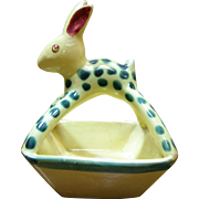French Faience Polka Dot Bunny Rabbit Trinket Dish ~ France