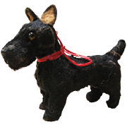 Wonderful Miniature Flocked Scotty Dog For Doll House