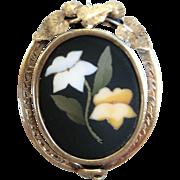 Victorian 14K Gold Pietra Dura Pin / Brooch