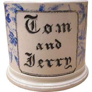 Rare Signed  Wedgwood Pearlware Mug - Peony Pattern - Tom & Jerry
