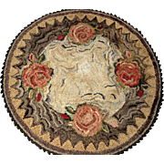 Beautiful Vintage Hand Hooked Mat  / Rug - Roses