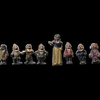 Miniature Lead Figures - Snow White & Seven Dwarfs