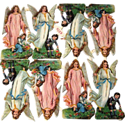 Vintage Embossed Die Cut Scraps - Christmas Angels W/ Children