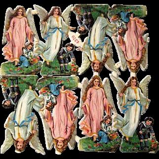 Vintage Embossed Die Cut Scraps - Christmas Angels W/ Children