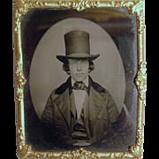 Miniature Tin Type Of Man W/ Stovepipe Hat - Ormolu Frame