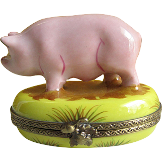 Darling Limoges Pig Hinged Box - Peint Main Puy de Dome