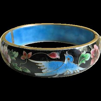 Gorgeous Vintage Chinese Enamel Bracelet - Bluebirds - Beijing